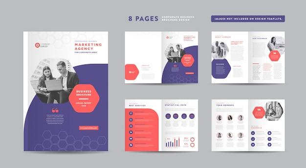 企業パンフレットのデザイン アニュアルレポートと会社概要 小冊子とカタログのデザインテンプレート Premiumベクター