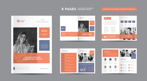 企業パンフレットのデザイン|アニュアルレポートと会社概要|小冊子とカタログのデザインテンプレート Premiumベクター