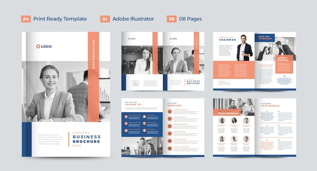 企業のビジネスパンフレットのデザインまたは年次報告書と会社概要のデザインまたは小冊子とカタログのデザイン Premiumベクター