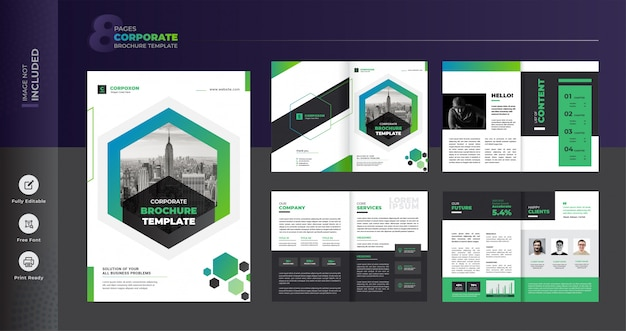 Corporate business brochure template Premium Vector