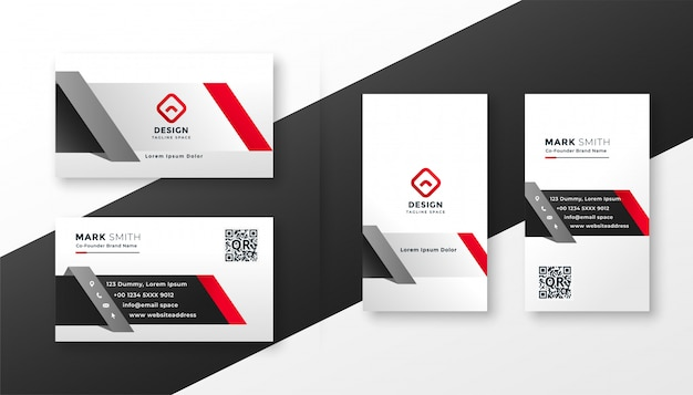 Corporate business card template in red ang gray colors Free Vector