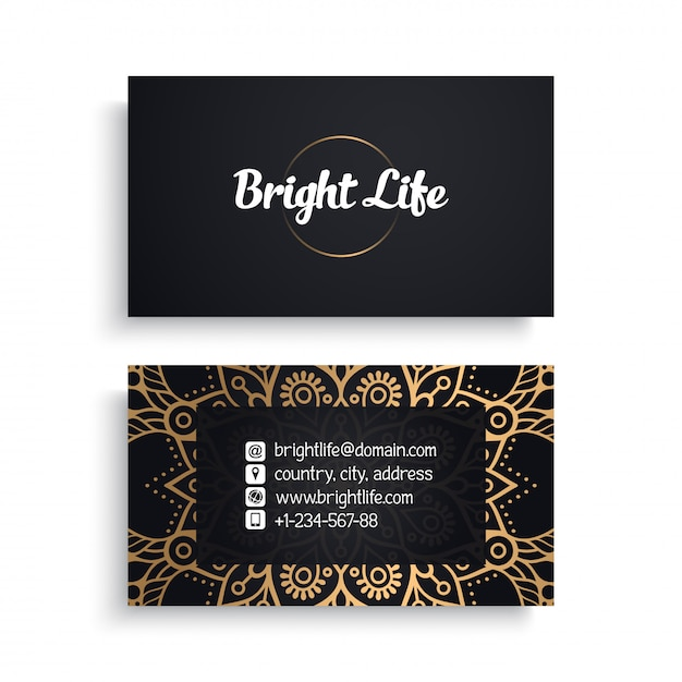 Corporate business card template with ethnic luxury design, boho style Free Vector