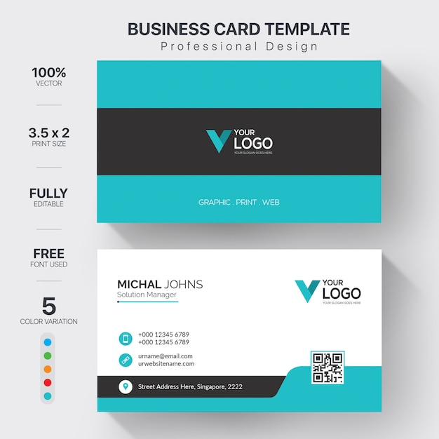 Corporate business cards template with color variation Premium Vector
