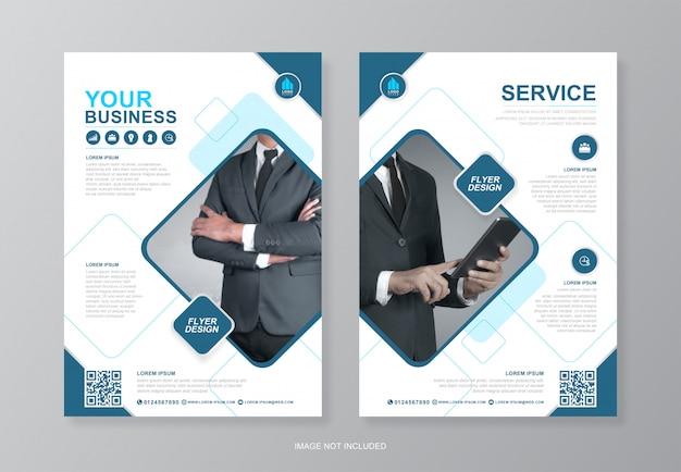 Обложка корпоративного бизнеса и задняя страница a4 флаер шаблон оформления Premium векторы