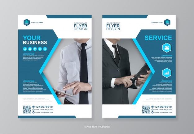 Обложка корпоративного бизнеса и задняя страница дизайнера флаера формата а4 Premium векторы
