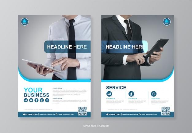 企業の表紙と裏ページa4チラシデザイナーテンプレート Premiumベクター