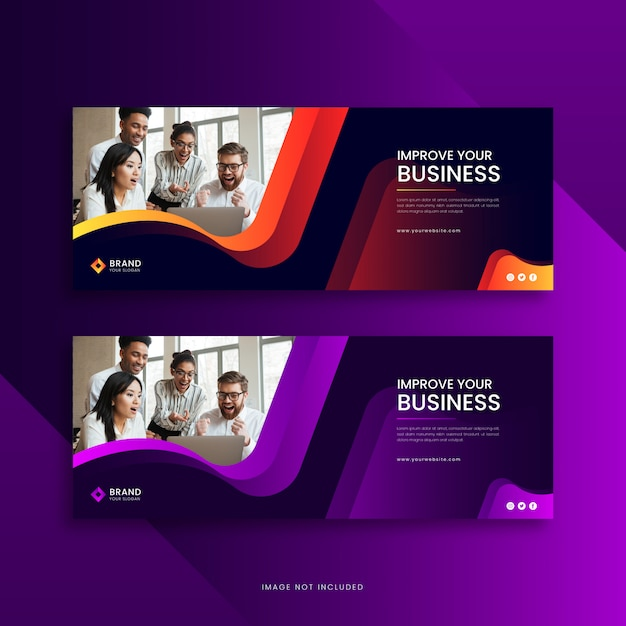 Corporate business facebook cover banner template Premium Vector