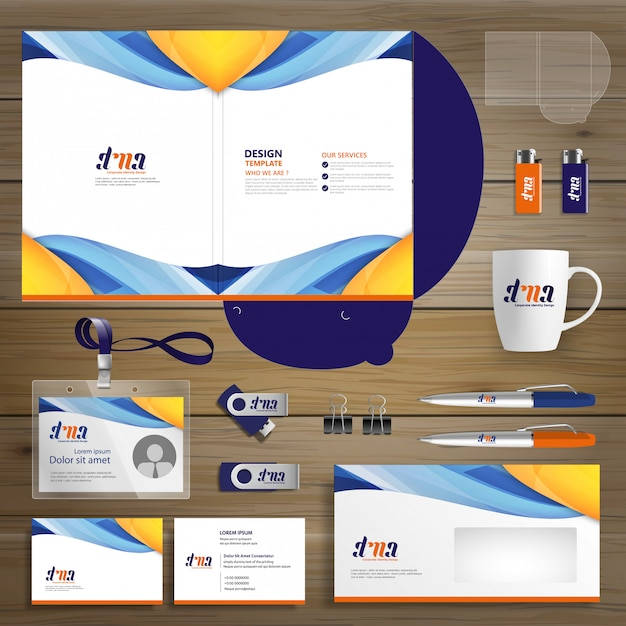 Corporate business folder technology stationery company Premium Vector