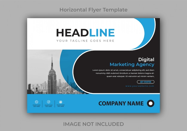 Corporate or business horizontal flyer design template Premium Vector