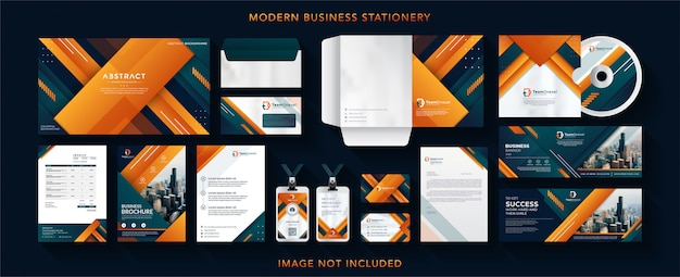 Corporate business identity design vector stationery Premium Vector