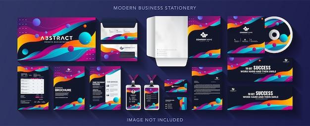 Corporate business identity design vector stationery Premium Vector
