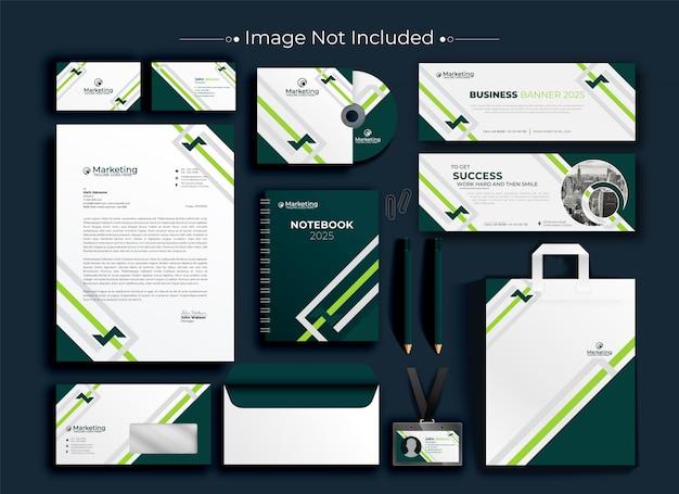 企業のビジネスアイデンティティ文房具セット Premiumベクター