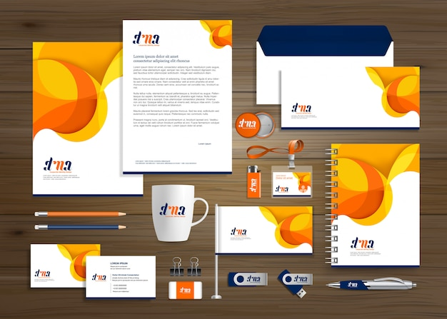 Corporate business identity template Premium Vector