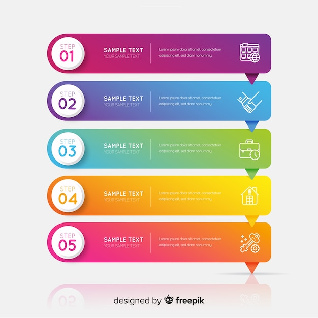 Corporate business infographic template, composition of infographic elements Free Vector