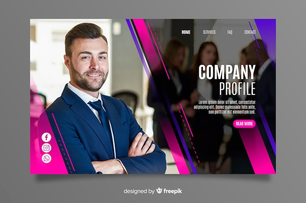 Corporate business landing page Free Vector
