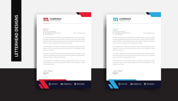 Corporate business letterhead design template Premium Vector