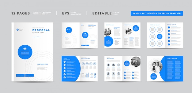 Corporate business project proposal design | annual report and company brochure | booklet and catalog design Premium Vector
