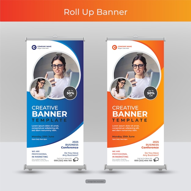 Corporate business roll up or stand banner template with abstract design Premium Vector