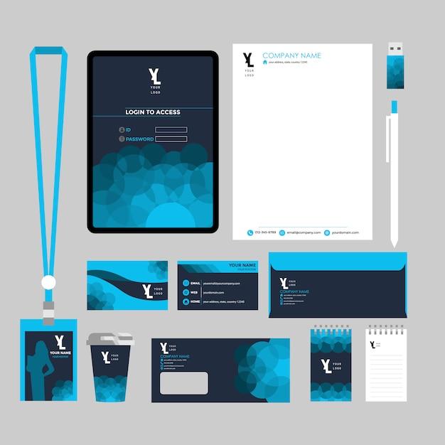 Corporate business stationery set Premium Vector