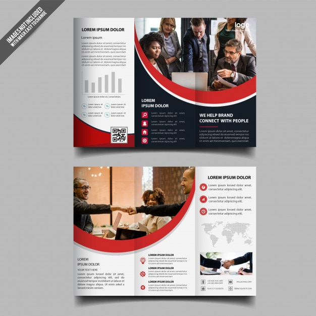 Corporate business tri fold brochure template design Premium Vector