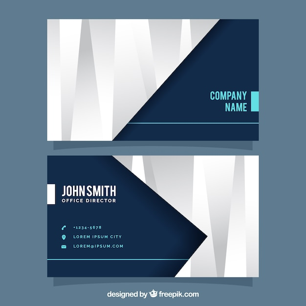 Corporate card with geometric forms in gray tones Free Vector