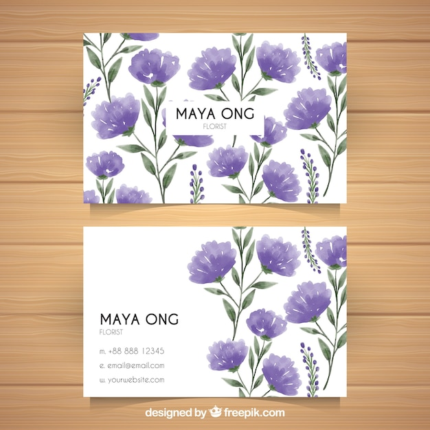 Corporate cards with flowers in purple\ tones