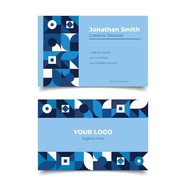 Corporate classic blue business card template Free Vector