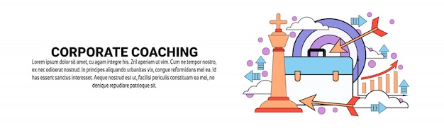 Corporate coaching business training concept horizontal banner template Premium Vector