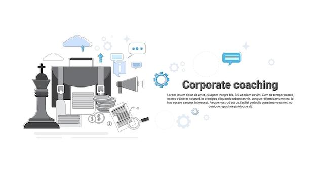 コーポレートコーチングマネジメントビジネスウェブバナーのベクトル図 Premiumベクター