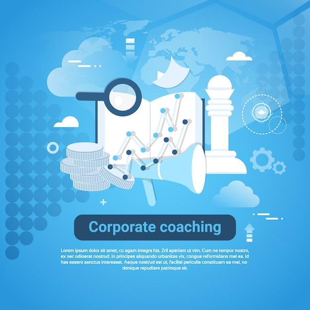 Corporate coaching template web banner with copy space Premium Vector