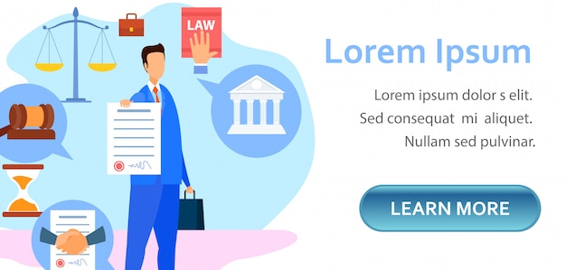 Corporate, commercial lawyer landing page template Premium Vector