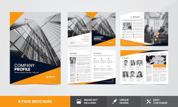 Corporate company brochure template Premium Vector