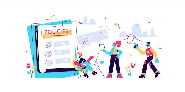 企業コンプライアンス。企業文化とポリシー。事業法、規制および基準の表現。会社の倫理的慣行。孤立したコンセプトクリエイティブイラスト Premiumベクター