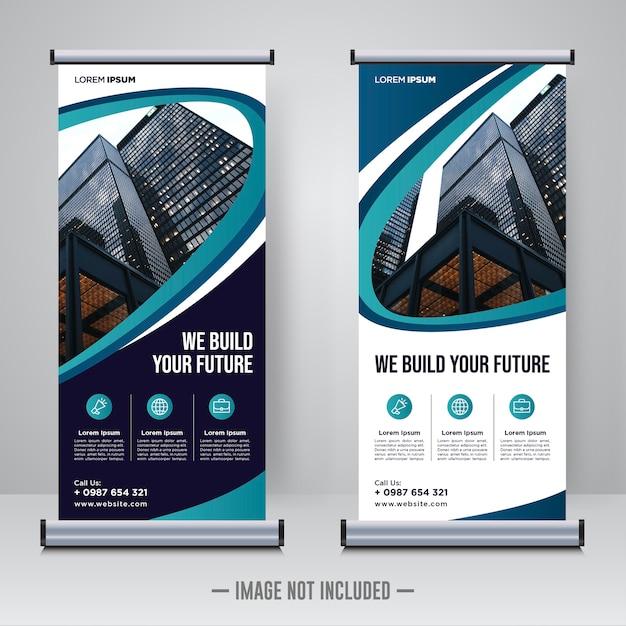 企業建設ロールアップまたはxバナーデザインテンプレート Premiumベクター