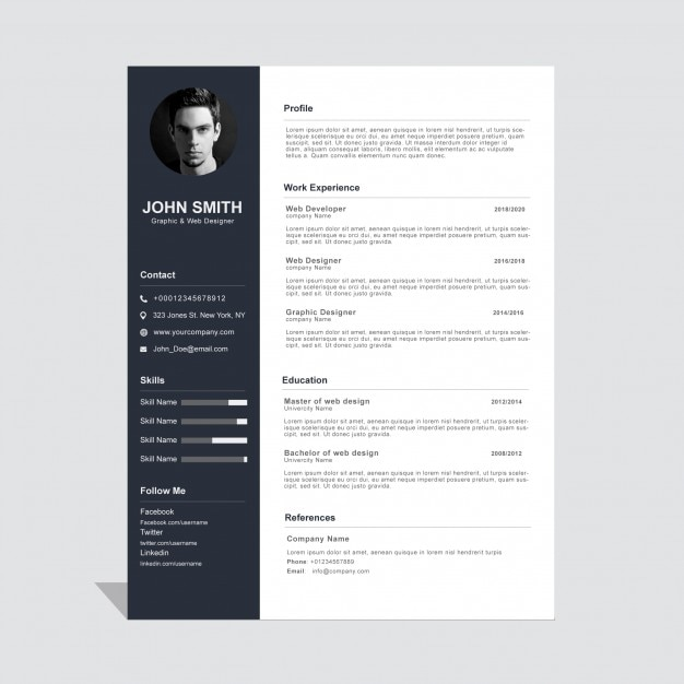 Corporate curriculum vitae template Free Vector
