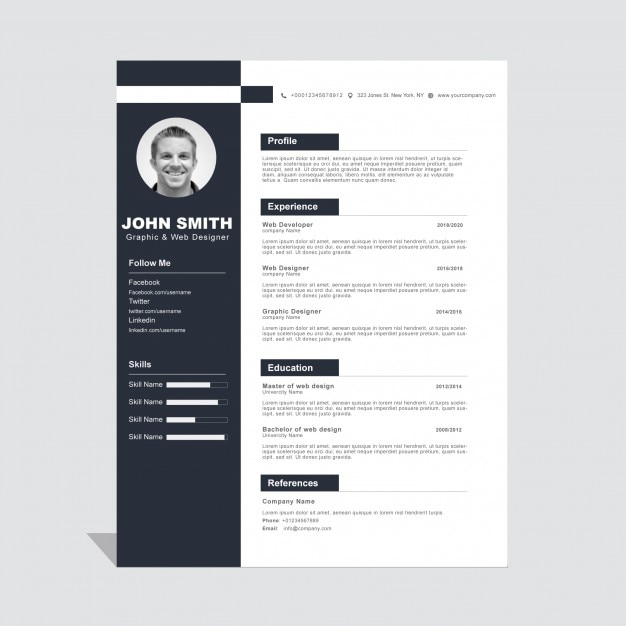 Corporate Curriculum Vitae Template Vector Free Download