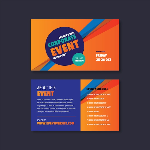 Corporate event & seminar card invitation design Premium Vector