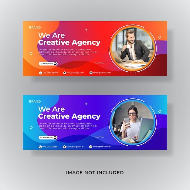 Corporate facebook cover template Premium Vector