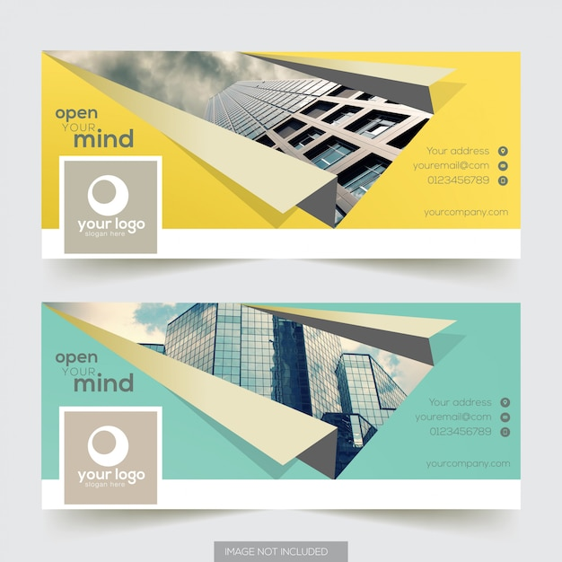 Corporate facebook timeline cover with element Premium Vector