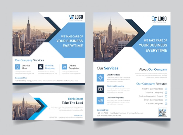 Corporate Flyer Social Media Post Banner Cover Template Bundle Premium Vector