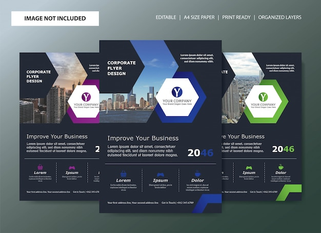 Corporate flyer template design with color choices Premium Vector