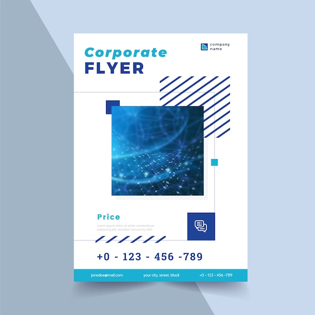 Corporate flyer template with shapes and photo Free Vector