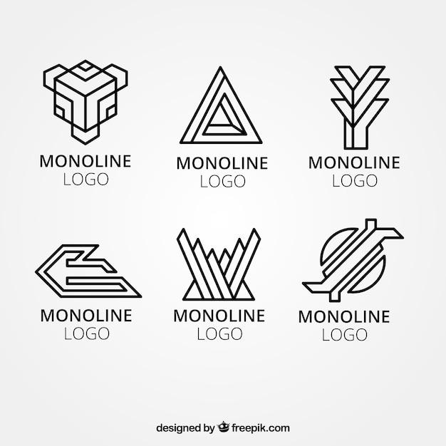 Corporate geometric logos in monoline style