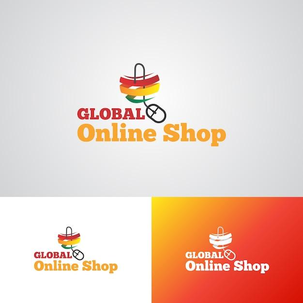 Global Online Store Software: Corporate Global Online Shop Logo Design Template Vector