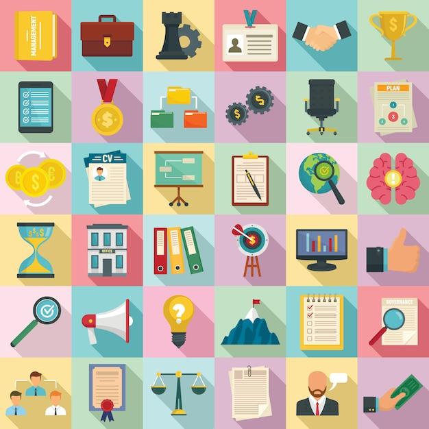 Corporate governance icons set, flat style Premium Vector