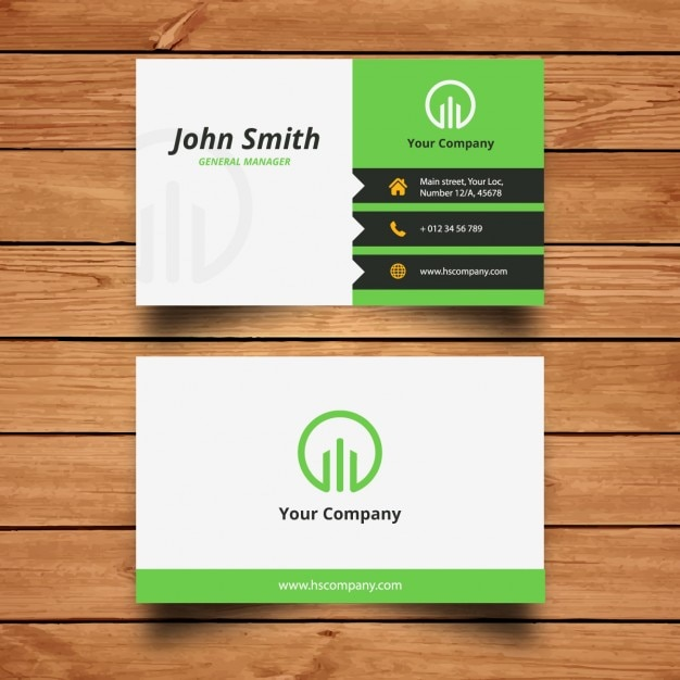 Corporate green business card design Vector