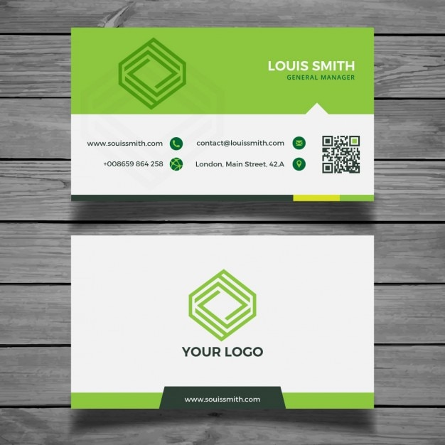 Corporate Green Business Card Free Vector