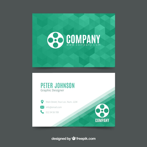 Corporate green geometric card Free Vector