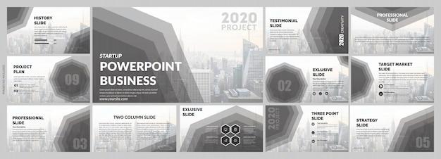 회사 회색 슬라이드 템플릿 프리미엄 벡터