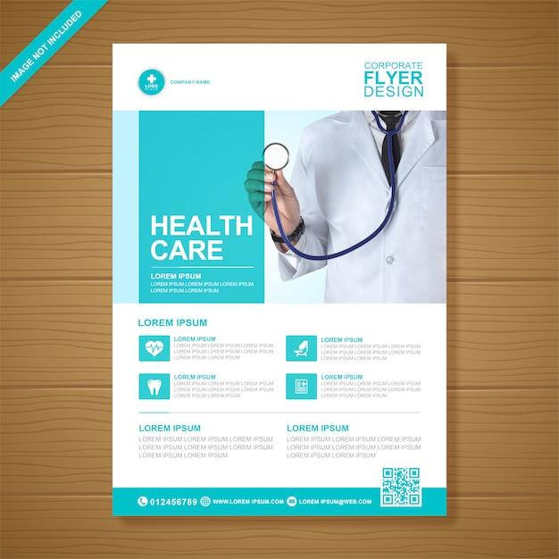 Corporate healthcare and medical cover a4 flyer design template Premium Vector